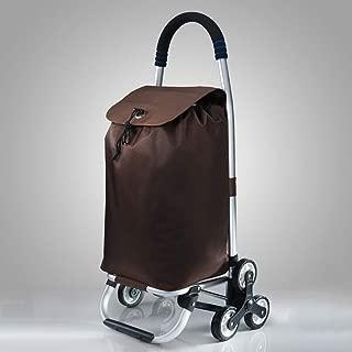 Asdfnfa Shopping Cart Aluminum Small Cart Home Climbing Stairs Folding Portable Cart Elderly Trailer asdfnfa (Color : Brown)