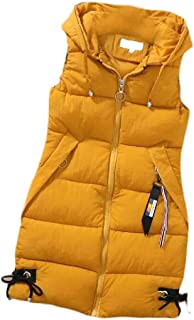 Macondoo Womens Warm Quilted Puffer Coat Cotton-Padded Hoodie Down Vest