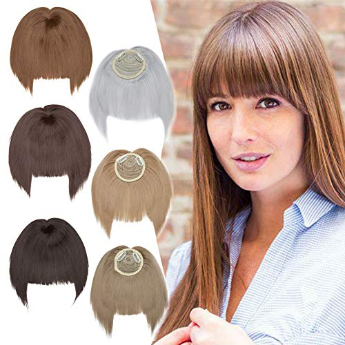 Clip in Hair Topper with Bangs One Piece Clip in Hair Bangs Front Neat Fringe Crown Topper for Women with Thinning Hair Wiglets Gradual Temples Invisible Crown Hairpiece 6inch Medium Brown