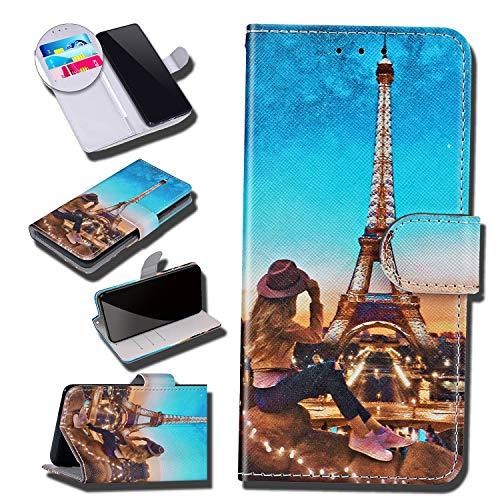 Urhause Kompatibel mit Asus ZenFone Max(ZB555KL) Hülle Karikatur Gedruckt Leder PU Handyhülle Magnetverschluss Standfunktion Handytasche Brieftasche Tasche Kartenfach Etui Wallet Lederhülle, Eiffel#1