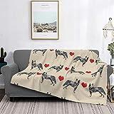 Manta de microfibra ultrasuave para decoración del hogar, manta de franela cálida antipilling para sofá, cama, campamento de 60 x 50 pulgadas, perro de ganado australiano azul Heeler Love Hearts Tan