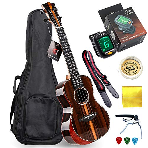 Beautiful! Smiger Ukulele Concert Glossly Arm-rest Ukeleles Striped Ziricote Wood for Beginners, Adults Professional Uke 24 with Capo Strap Tuner Picks