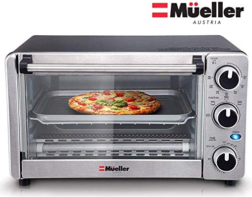 Toaster Oven 4 Slice, Multi-function Stainless Steel Finish with Timer - Toast - Bake...