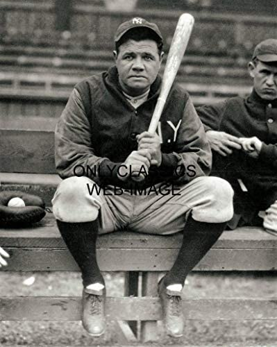 OnlyClassics Vintage Babe Ruth Holds HIS BAT New York Yankees Baseball MLB Iconic 8X10 Photo product image