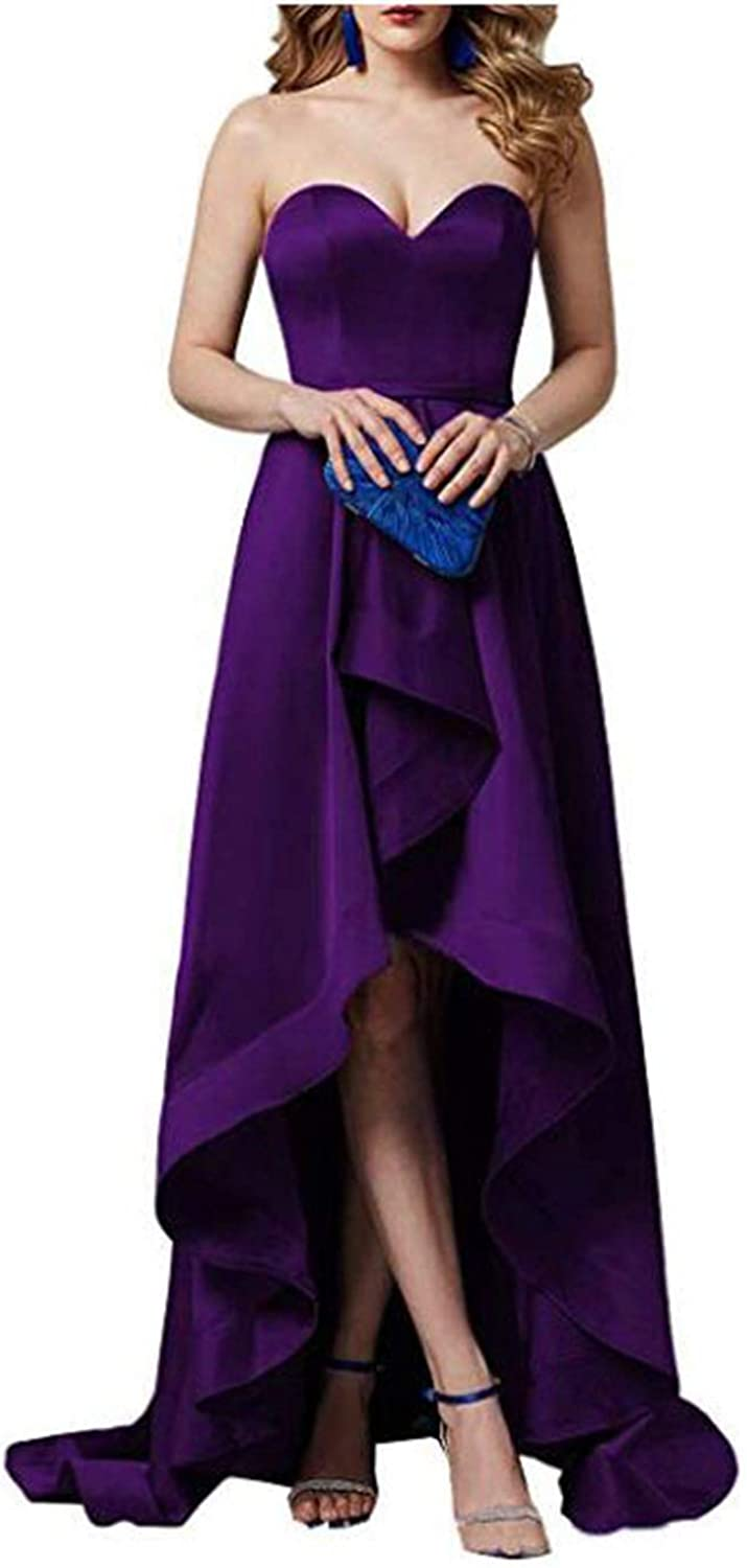 Alilith.Z Sexy Sweetheart Prom Dresses High Low Satin Long Formal Evening Dresses Party Gowns Women