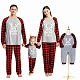 Borlai Pijamas Navidad para Familias Invierno Otoño Top+Pantalones Ropa de Dormir para Mamá Papá Niños Bebé Conjuntos Navideños, Gris Mejorado, Niño pequeño / 6-12 Meses