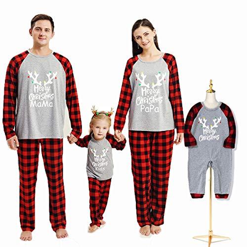 Borlai Pigiama Natale Famiglia Manica Lunga Top e Pantaloni Pigiameria Autunno e Inverno Pajamas Set, Grigio aggiornato, Donne / S