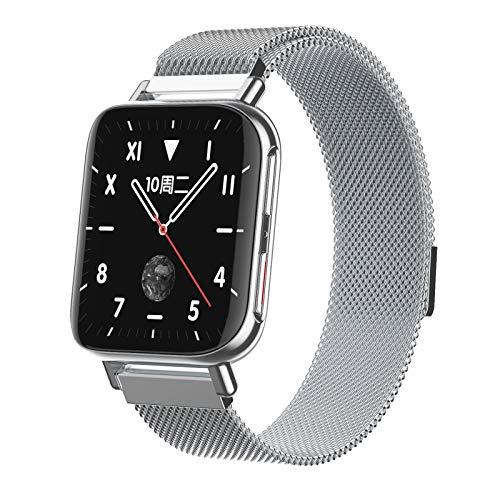 XXH Pulsera Inteligente M96 Pantalla De Color, Reloj De Llamada Bluetooth, Reloj Cuadrado con Estilo HD Curved Screen Watch Rastreador De Fitness para iOS Android,A