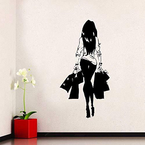 Moda mujer vinilo comercial etiqueta de la pared tienda de ropa decoración de la ventana pegatina hogar dormitorio pintura decorativa 57x112cm