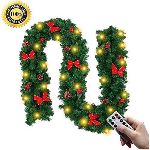 Morbuy Décoration de Noël Lumineuse Guirlande de Sapin, Intérieur Extérieur LED Mode 8 à Distance Vert Décor de Noël pour Anniversaire Fête Les Escaliers de Porte 270 cm (A-Lumière)