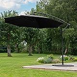 Harrier Parasol Sombrilla de 3m | Diseño de Brazo Ajustable y Máxima Sombra | Terraza y Jardín | 5 Colores (Estándar + 2 Bases 12,5kg, Negro)