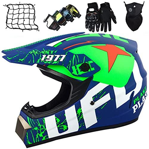 Kids Motocross Helmet, Kids Adult and Youth Motocross Off-Road Motorcycle Helmet MTB BMX Downhill Full Face Helmet with Glasses/Gloves/Masks/Helmet Net - UFO Blue