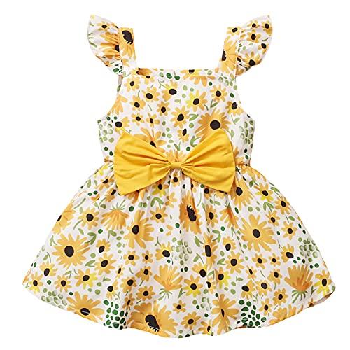 Kleid Mädchen Baby Ärmel gekräuseltes Prinzessin Kleider,Kleinkinder Sommer Kurzärmelige Strap Blumendruck Floral Lotus Blatthülse Sommerkleid Mädchen Sunshirt Nachthemd Hosenträgerrock