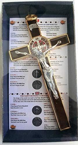 GTBITALY – 10.004.21– Croix de Saint-Benoît émaillée avec boîte cadeau – Église, prêtre – 20 cm – Marron et doré