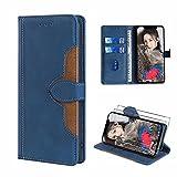 xinyunew [Cuero PU Premium Funda para Cubot P20 + [2 Pack] Protector Pantalla Cristal Templado,Carcasa Funda Protectora Billetera (Azul)
