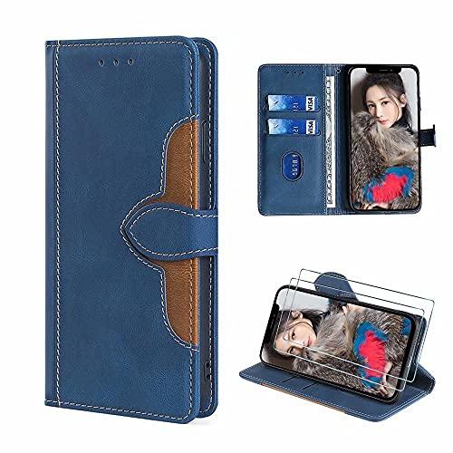 xinyunew Lederhülle für Xiaomi Redmi 8A Hülle mit 2 Stück Panzerglas Schutzfolie, PU Leder Flip Wallet Handyhülle für Xiaomi Redmi 8A Handyhülle-Blau
