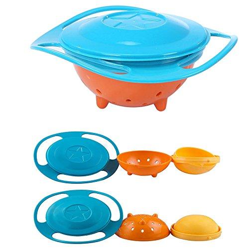 Halterung für auslaufsichere Schüssel mit 360 Kids DGREE Rotation Gyroscope Trainning Geschirr mit Deckel, Blau und Orange