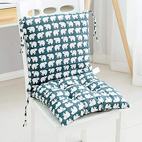 Phoeni Cojín para silla de jardín, cojín de respaldo bajo, asiento suave siamés con lazos para oficina, comedor, aula, jardín al aire libre (40 x 40 cm)