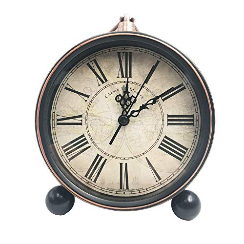 Relojes de mesa silenciosos, reloj despertador retro antiguo que no hace tictac de 5.2 pulgadas con movimiento de cuarzo a batería, lente de vidrio HD para decoración de interiores de cocina, fác