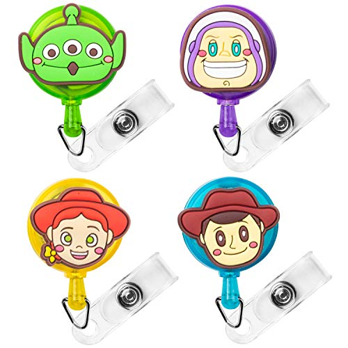 CY2SIDE 4PCS Toy Inspired Story Retractable Badge Holder, Cartoon Retractable Badge Reel, Badge Reel Holder Nursing, Name Badge Holders with Clip, Woody Badge Holder Reel Clip, 24 inch Cord Extension