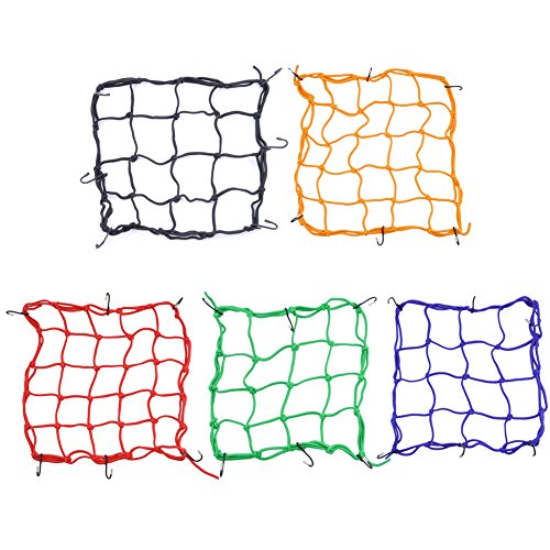 """Motorcycle Bicycle Cargo Net Elastic Luggage Rope Fixed Helmet Sundries, 12"""" x 12"""" Heavy Duty Cargo Net Motorcycle, 2Pcs, Stretches to 35' with 6 Adjustable Iron Hooks"""