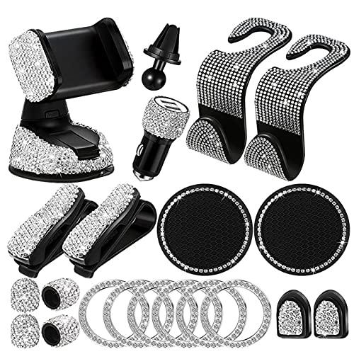 Juego de 20 accesorios para coche Bling Car Phone Holder Mount, BlingCar Sun Visor Spectacle Frame, Bling Auto Hooks, Bling Dual USB Car Charger, Brillante Cubierta de vástago de válvula de neumático