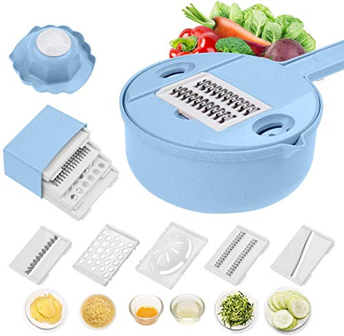 Foanerwi Mandoline Slicer - 12 in 1 Vegetable Choppers Multi-Function Food Cutter with Egg Yolk Separator & Fruit Peeler, with 6 Interchangable Stainless Steel Blades,Best for Onions,Potato