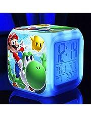 Super Mario Bros Alarm Clock Personalizar Imagen Wake Up Light USB Kids LED Clock Cartoon Night Light Flash 7 Cambio de Color Reloj Digital Reloj de Escritorio Electrónico