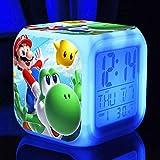 Reloj Despertador Super Mario Bros Personalizar Imagen Luz d