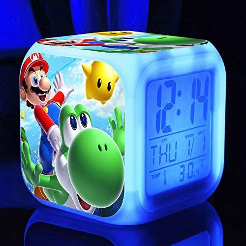 Reloj Despertador Super Mario Bros Personalizar Imagen Luz de Despertador USB Niños LED Reloj de Dibujos Animados Luz de Noche Flash 7 Cambio de Color Reloj Digital Reloj de Escritorio ElectrónicoB