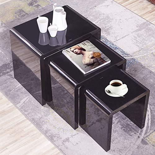 GORVELL Modern Simple Black Nest of 3 Tables, Sofa Nesting Tables End Side Tables Living Room Table, Home Office, Black