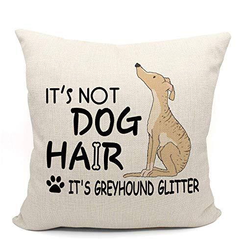 Hokdny Funda de cojín decorativa de lino para sofá o cama con diseño de galgo, ideal para amantes de perros, regalos para amantes de los galgos, regalos para mamá de galgo, regalo de 45,7 x 45,7 cm