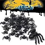 120 Piezas Araña Negra de Plástico Scary Spider Props Halloween Realistic Prank Terriblemente Realista para Momentos Impactantes - 5 Tamaños