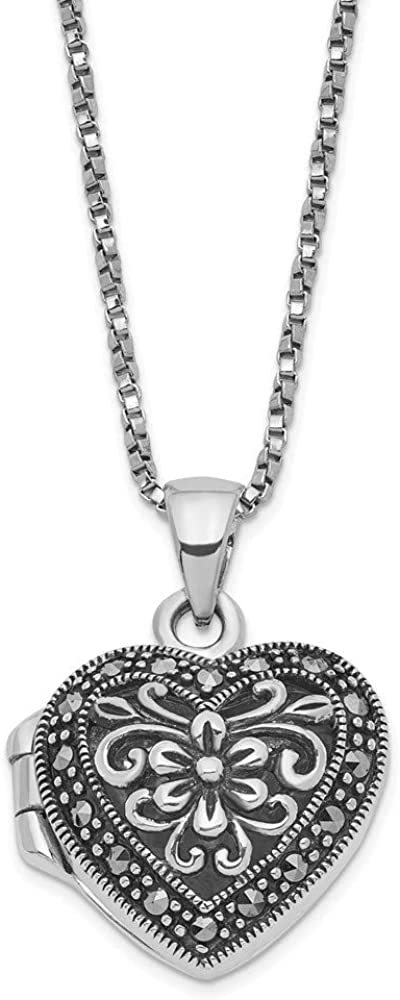 925 All stores are sold Sterling Silver Floral Pattern Locket Inc Marcasite 18 Mesa Mall Heart