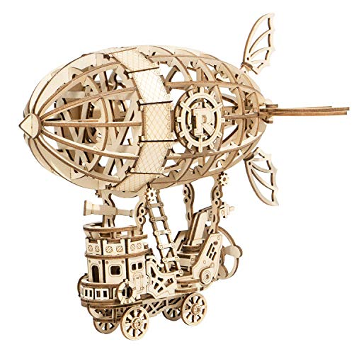 T Tocas Robotime 3D Puzzle Airship Wooden Jigsaws Kit Wooden Puzzles DIY Hand Craft Mechanical Toy Gift for Kids Teens AdultsP