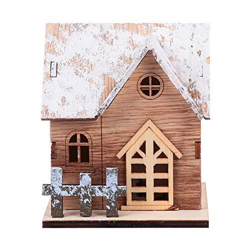 STOBOK LED Holzhaus weihnachtshaus beleuchtet Weihnachtsstadt Winter Village Holz Deko Haus mit LED-Beleuchtung Weihnachtsdorf Dekoration Weihnachtsdekoration als Tischdeko Kinder Geschenk