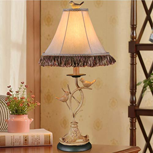 Lámpara de Escritorio de Arte de Pájaros Tallados en Resina Creativa, Lámpara de Mesa Led de Iluminación de Lectura Decorativa E27, Lámpara de Ahorro de Energía de Dormitorio, 15 cm * 61 cm, HJY