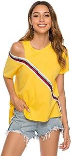 ملابس النساء تي شيرت Women Off-Shoulder Paneled Irregular Round Neck Short Sleeve T-Shirt تي شيرت (Color : Yellow, Size : XL)