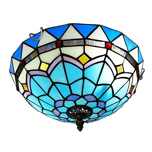 Iluminación De Colgaje De Techo Mediterráneo Azul, Estilo De Vidrio De Estilo Tiffany Araña Para Balcón, Dormitorio, Corredor, Hotel, E26 E27, Sin Bulbos, 110-240V,B-12 INCH