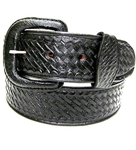 Modestone Western Unisex Embossed Basket Weave Ceinture Cuir 28 Black