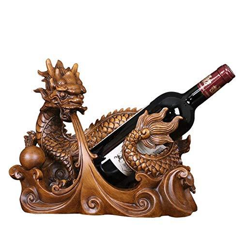 Hyy-YY - Estante de vino para botellas de vino, tamaño pequeño, soporte para botellas de vino, soporte para almacenamiento de vino, soporte para mesa, decoración (color: marrón, tamaño: uno)