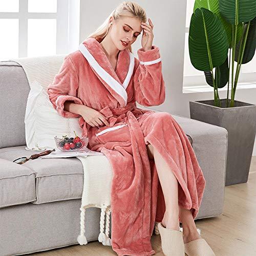 FGJHGH New Flannel Womens Warm Bademantel Weibliche Winter Robe Extra Long Home Wear Weiche...