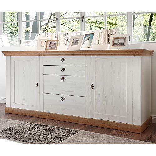 Lomadox Sideboard Anrichte im Landhaus Design, Pinie weiß und Wotan Eiche Nb, B/H/T ca.: 210/91/52 cm