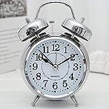 Manovruti Twin Bell Alarm Clock Silver Dial Vintage Look Table Alarm Clock