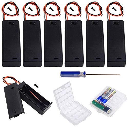 GTIWUNG 9Pcs AA 1.5 V batería Titular Caso Caja de Almacenamiento de la batería de plástico con Interruptor ON/Off, DIY AA Portapilas con Cables de Interruptor
