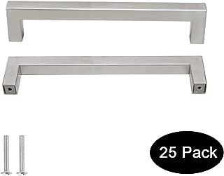 25 pack Probrico 1/2 in Stainless Steel Square Corner Bar Kitchen Cabinet Door Handles Brusehd Satin Nickel Hole Centers 6-1/4 inch 160mm