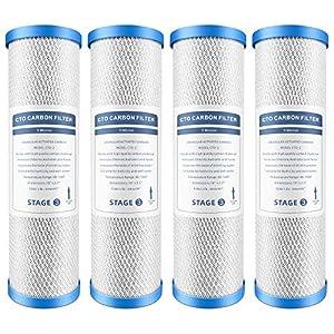 Lafiucy - Cartucho de filtro de carbono de 5 micrones de 25,4 x 2,5 cm, cartucho de filtro de agua de cáscara de coco, paquete de 4, filtro de agua de carbón activado