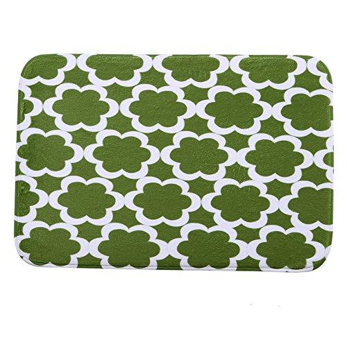 iHome deurmat, koraal fluweel, 40 x 60 cm, bloemenpatroon (groen wit)