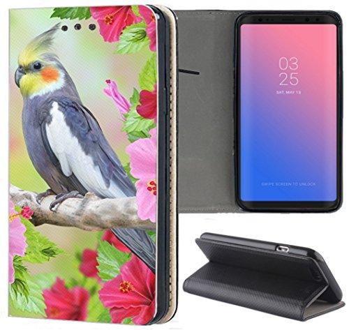Samsung Galaxy S7 G930F Hülle Premium Smart Einseitig Flipcover Hülle Galaxy S7 Flip Hülle Handyhülle Samsung Galaxy S7 Motiv (1308 Vogel Blumen Grau Weiß Pink)