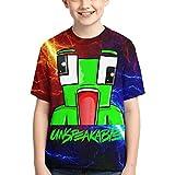 GIPHOJO Un-Speakable Youth Unisex Crewneck Short Sleeve T-Shirt Tees Polyester 3D Hd Double-Sided Print for Boys/Girls/Teen/Kid's,Medium Black